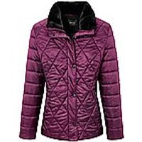 Image of Quilted jacket faux fur trimmed collar Basler bright pink size: 10