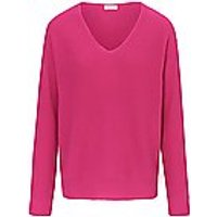 Image of V-neck jumper long sleeves include bright pink size: 14