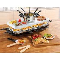 GOURMETmaxx Raclette und Fondue-Set Raclette- und Fondue Set, 12 Raclettepfännchen, 1600 Watt