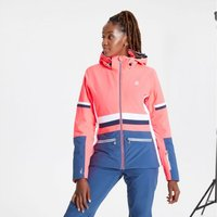 Dare 2b - Womens Evidence Waterproof Insulated Hooded Ski Jacket Neon Pink Dark Denim