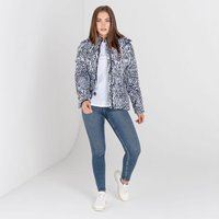 Dare 2b - Womens Glamorize II Waterproof Insulated Quilted Fur Trim Hooded Luxe Ski Jacket Black White Wild Thing Print