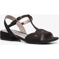 Zwarte sandalen van softline. gemaakt van textiel in suede look, een binnenwerk van textiel en een stevige ...