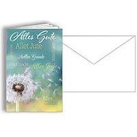 Glückwunschkarte Korsch Alles Gute Pusteblume, 115 x 170 mm, Karton, 10 St. mit doppelten Einlagen & Kuverts in Reinweiß
