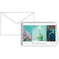 Glückwunschkarte Korsch Zum Geburtstag Muffin, 115 x 170 mm, Karton, 10 St. mit doppelten Einlagen & Kuverts in Reinweiß