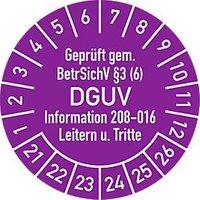 """Prüfplakette """"Geprüft gem. BetrSichV §3 (6) DGUV Information 208-016 Leitern u. Tritte"""", 2021–2026, 100 St."""