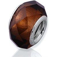 Brauner Glas Bead mit 925 Silber Fassung