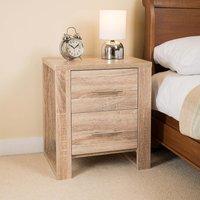 Oak Effect 2 Drawer Bedside Table
