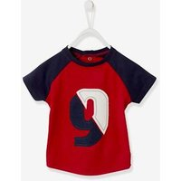 Short-Sleeved Three-Tone T-Shirt for Baby Boys red dark solid with design