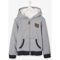 Hooded Sherpa-Lined Jacket, for Boys blue dark striped