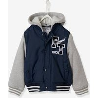 College-Style Jacket for Boys blue dark solid with design