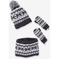 Jacquard Knit Beanie + Snood + Gloves Set grey dark mixed color