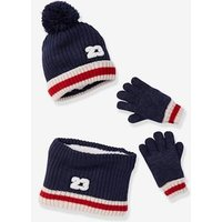 Beanie + Snood + Gloves with Bouclé Appliqué Set, for Boys blue dark solid