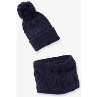 Beanie with Pompom + Cable Knit Snood Set, for Boys beige light mixed color