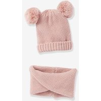 Beanie with Pompons + Crossover Snood Set, for Girls pink dark solid