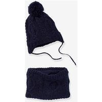 Cable Knit Beanie + Snood Set, for Boys blue dark solid