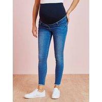 7/8 Maternity Slim Fit Jeans with Tears light denim blue
