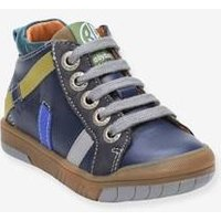 Leather High Top Trainers for Baby Boys, Artistreet by Babybotte® blue dark solid