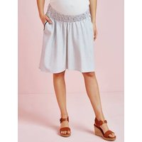 Striped Maternity Skirt in Viscose and Linen white light striped