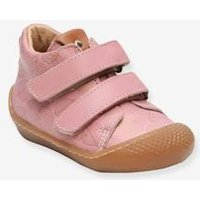 Touch-Fastening Leather Ankle Boots for Baby Girls, Arloa by Babybotte® pink light solid