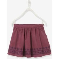 Flared Skirt in Embroidered Corduroy, for Girls orange medium solid