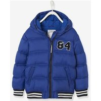 Jacket with Hood and Patch in Bouclé, for Boys blue dark solid with design