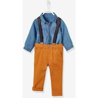 Shirt + Trousers with Braces Outfit, for Baby Boys blue dark solid