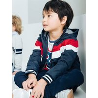 Jacket with Hood and Colourblock Effect for Boys blue dark solid with design