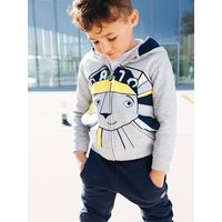 Zipped Jacket with Hood for Boys, Lion Motif grey light mixed color