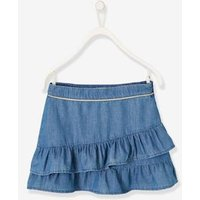 Skirt with Frills, in Light Denim, for Girls blue dark solid