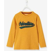 Long-Sleeved T-Shirt with Bouclé Inscription for Boys yellow medium solid wth design
