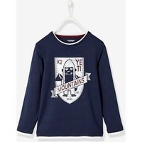 Printed Long-Sleeved T-Shirt for Boys blue dark solid with design