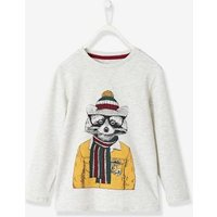 Long-Sleeved T-Shirt with Fun Raccoon Motif for Boys white light mixed color