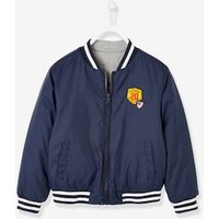 Reversible College-Type Jacket, for Boys blue dark solid with design