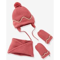 Lined Chapka Hat + Snood + Mittens Set, for Baby Girls blue dark solid