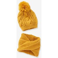 Beanie with Pompom + Crossover Snood Set, for Girls blue dark solid