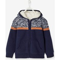Hooded Cardigan in Jacquard Knit with Sherpa Lining, for Boys grey light mixed color