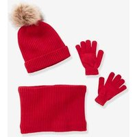 Beanie + Snood + Gloves Set, for Girls grey light solid