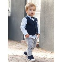 Occasion Wear Outfit : Waistcoat + Shirt + Bow Tie + Trousers, for Boys blue dark solid
