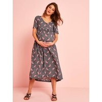 Long Maternity Dress In Printed Viscose Black Dark All Over Printed
