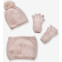 Beanie + Snood + Mittens Set for Girls pink medium solid