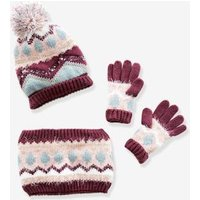 Beanie + Snood + Gloves Set in Jacquard Knit with Iridescent Details, for Girls red dark solid