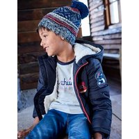 Beanie with Pompom + Snood + Gloves, for Boys grey medium solid