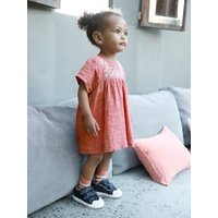 Linen and Cotton Embroidered Dress, for Baby Girls pink medium solid with desig