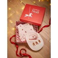 Christmas Gift Box with Sleepsuit and Bib, for Babies, JAA beige medium solid with decor