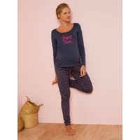 Pyjama Top + Bottoms, for Maternity blue dark all over printed