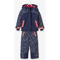 Parka + Ski Trousers / Ski All-in-One, for Girls blue dark all over printed