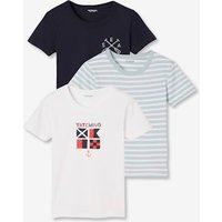 Pack of 3 Short-Sleeved T-Shirt for Boys, Navy blue light two color/multicol