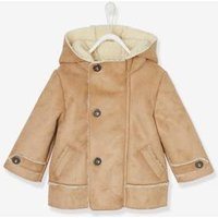 Jacket in Shearling-Type Leather, for Baby Boys brown light solid