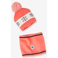 Beanie with Pompom + Snood Set, for Girls pink bright all over printed