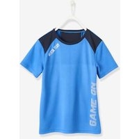 Sports T-Shirt for Boys, in Techno Fabric black dark solid with design